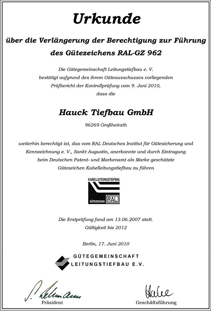 Hauck Verlängerung 2010